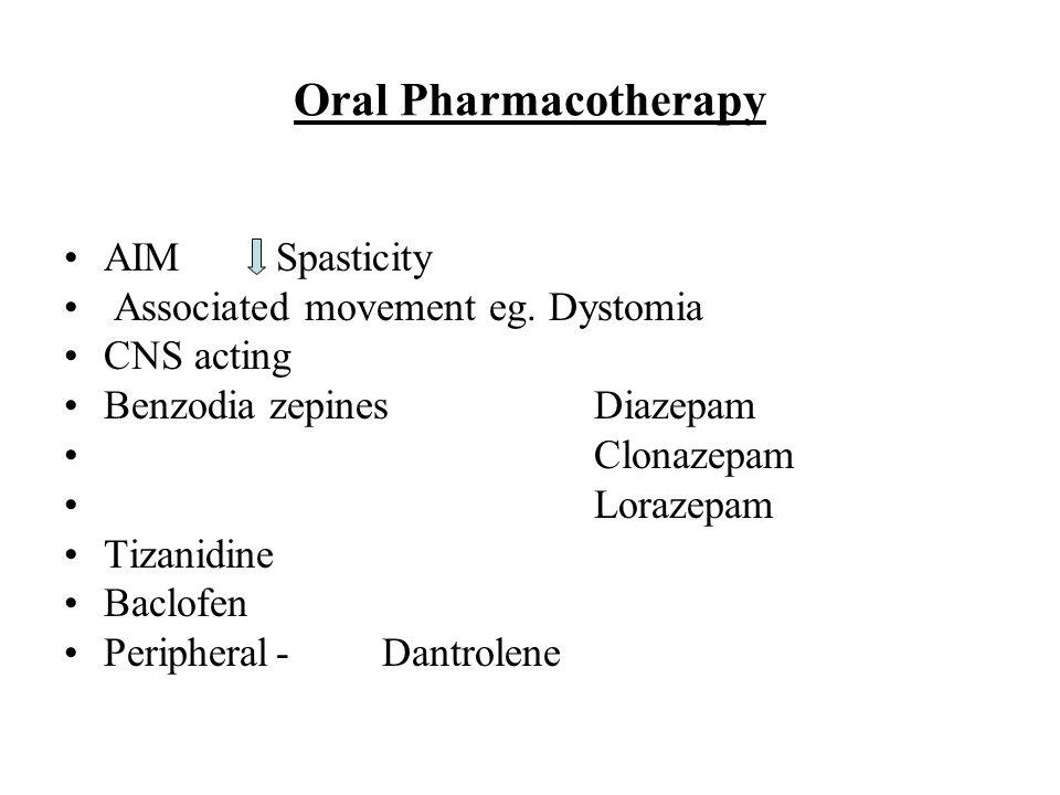 Oral Pharmacotherapy AIMSpasticity Associated movement eg. Dystomia CNS acting Benzodia zepinesDiazepam Clonazepam Lorazepam Tizanidine Baclofen Perip