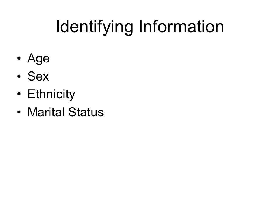 Identifying Information Age Sex Ethnicity Marital Status