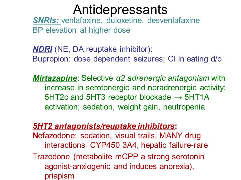 Antidepressants SNRIs: venlafaxine, duloxetine, desvenlafaxine BP elevation at higher dose NDRI (NE, DA reuptake inhibitor): Bupropion: dose dependent
