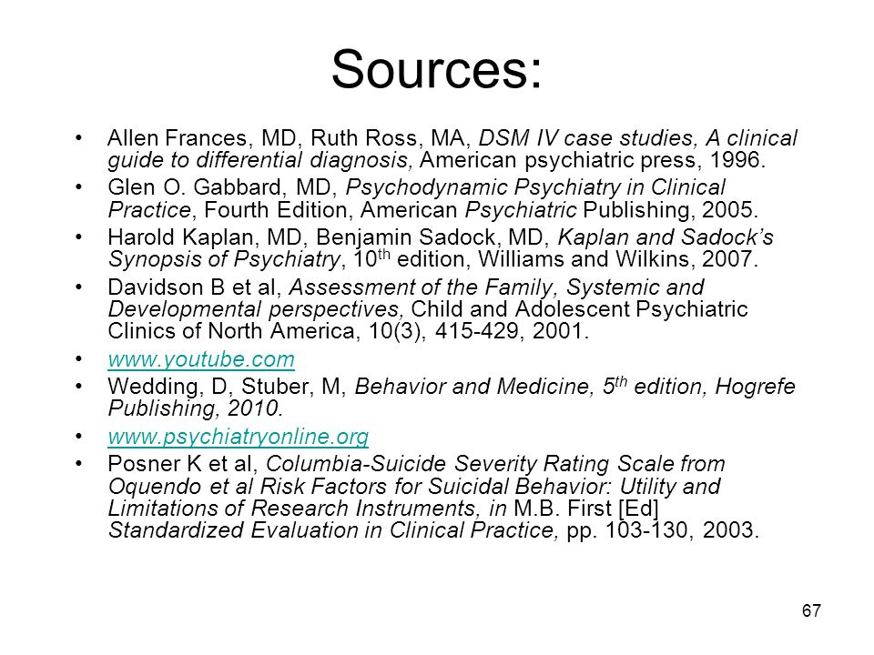 Sources: Allen Frances, MD, Ruth Ross, MA, DSM IV case studies, A clinical guide to differential diagnosis, American psychiatric press, 1996. Glen O.