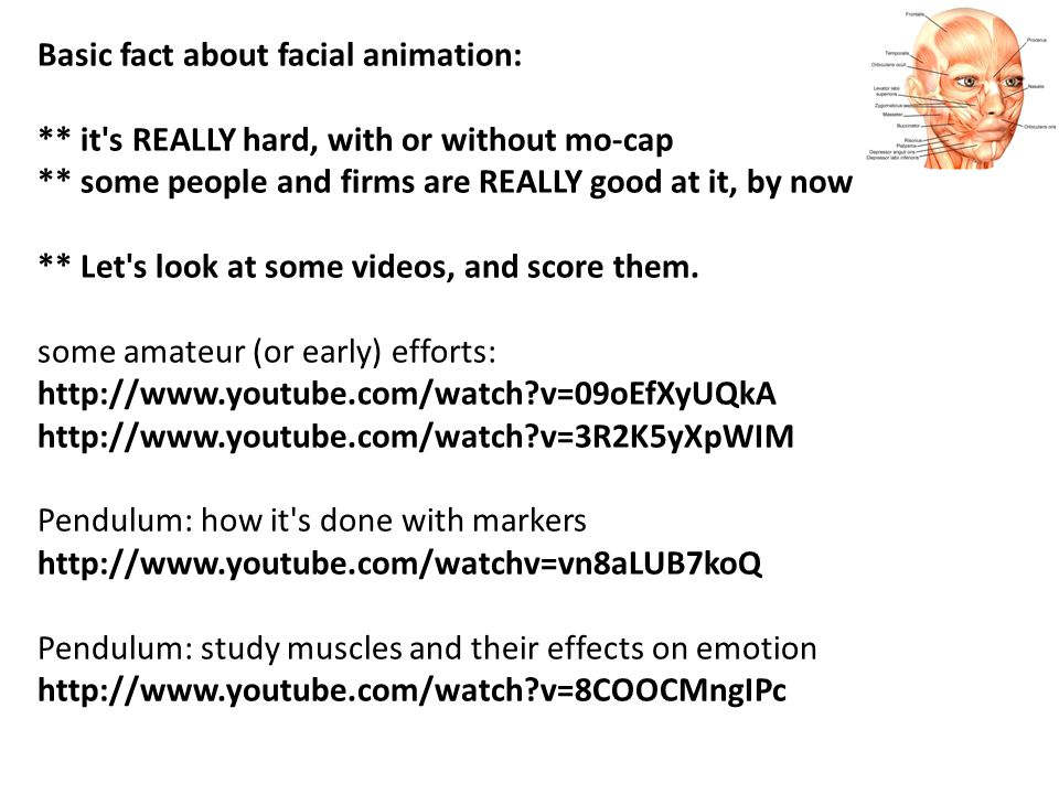 Basic fact about facial animation: ** it s REALLY hard, with or without mo-cap ** some people and firms are REALLY good at it, by now ** Let s look at some videos, and score them.
