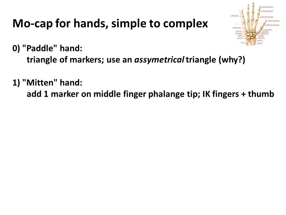 Mo-cap for hands, simple to complex 0) Paddle hand: triangle of markers; use an assymetrical triangle (why ) 1) Mitten hand: add 1 marker on middle finger phalange tip; IK fingers + thumb