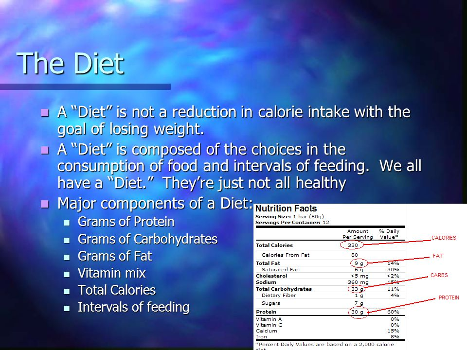 The Diet A Diet is not a reduction in calorie intake with the goal of losing weight.
