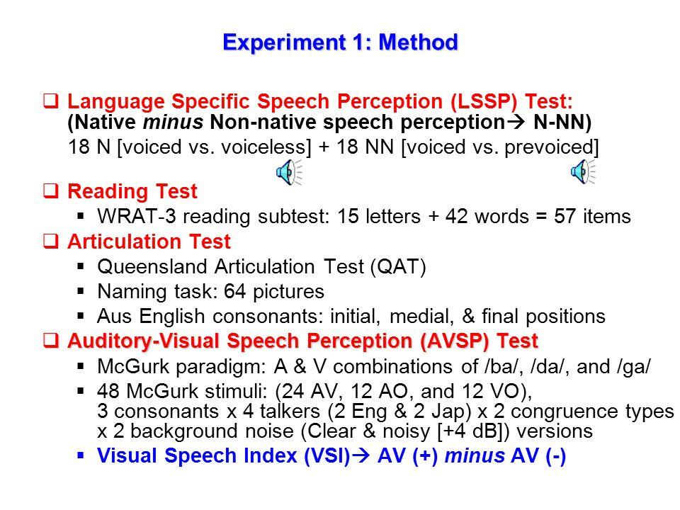 Experiment 1 AVSP Language-specific Speech Perception (LSSP) Reading Articulation Regression Correlation