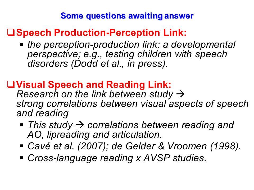 AVSP (integrative module) Auditory-only speech perception Lipreading Speech Production (articulation) Reading