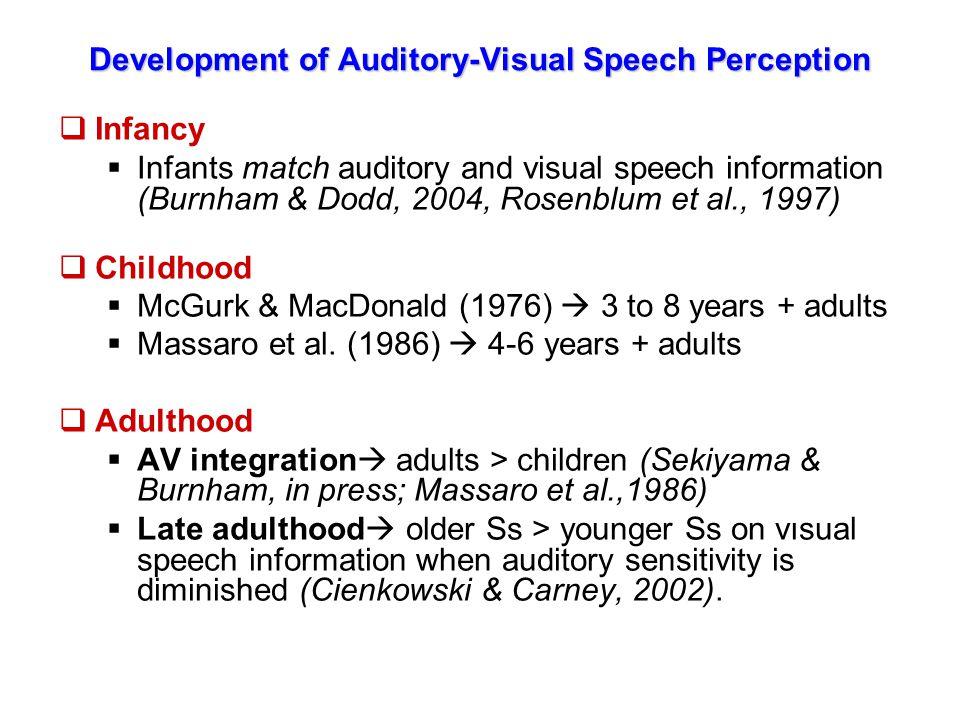 AVSP: Cross-Language (Differential) Studies  Cross-language phonemic differences  e.g., Werker et al.