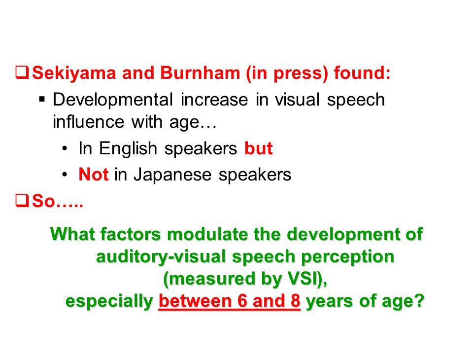 AV+ minus A Augmentation A minus AV- Interference Visual Speech Index (VSI) [AV+] minus [AV-] 6-yos 8-yos 11-yos Adults