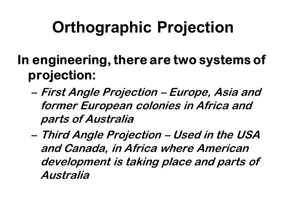 Orthographic Projection Projectors are orthogonal (90°) to projection surface
