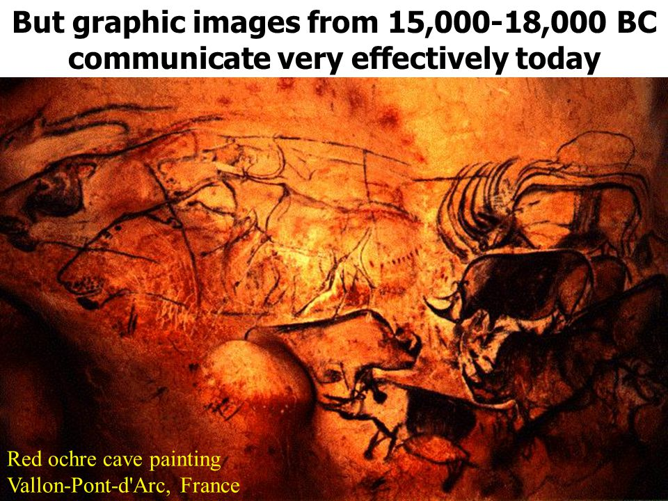 But graphic images from 15,000-18,000 BC communicate very effectively today Red ochre cave painting Vallon-Pont-d Arc, France