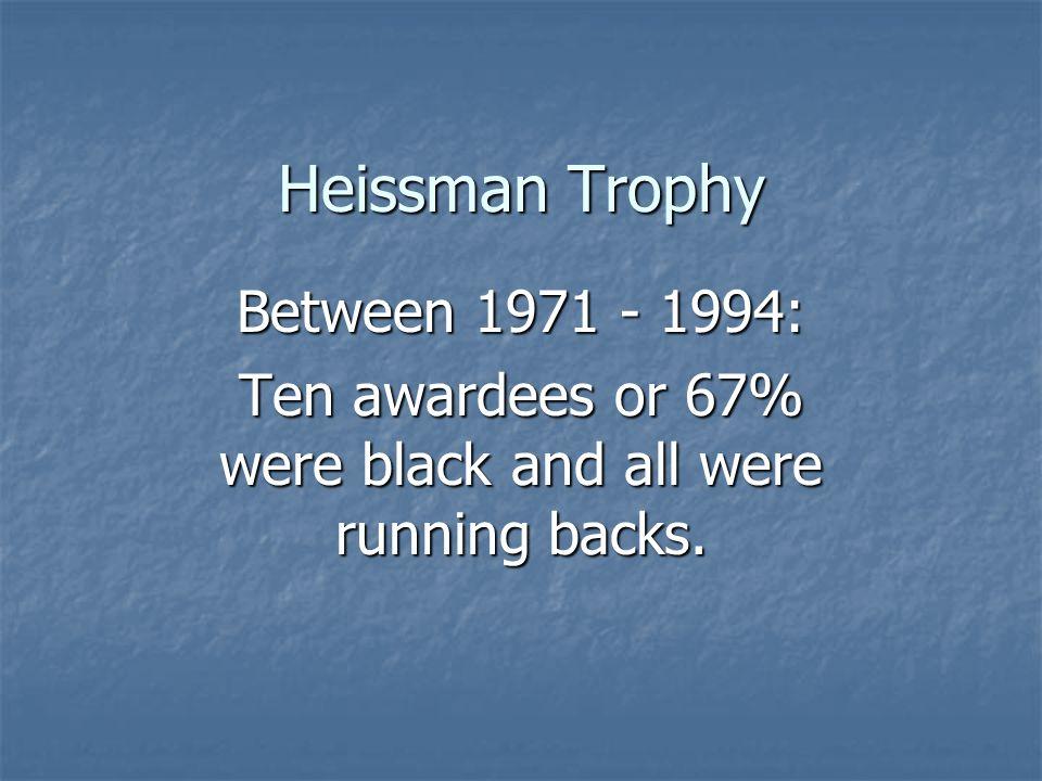 Heissman Trophy Between 1971 - 1994: Ten awardees or 67% were black and all were running backs.