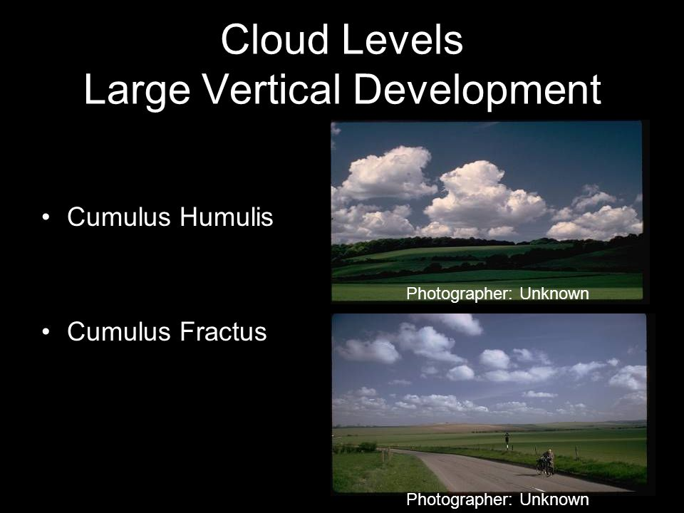Cumulus Congestus Cumulonimbus Incus Cloud Levels Large Vertical Development Photographer: Unknown
