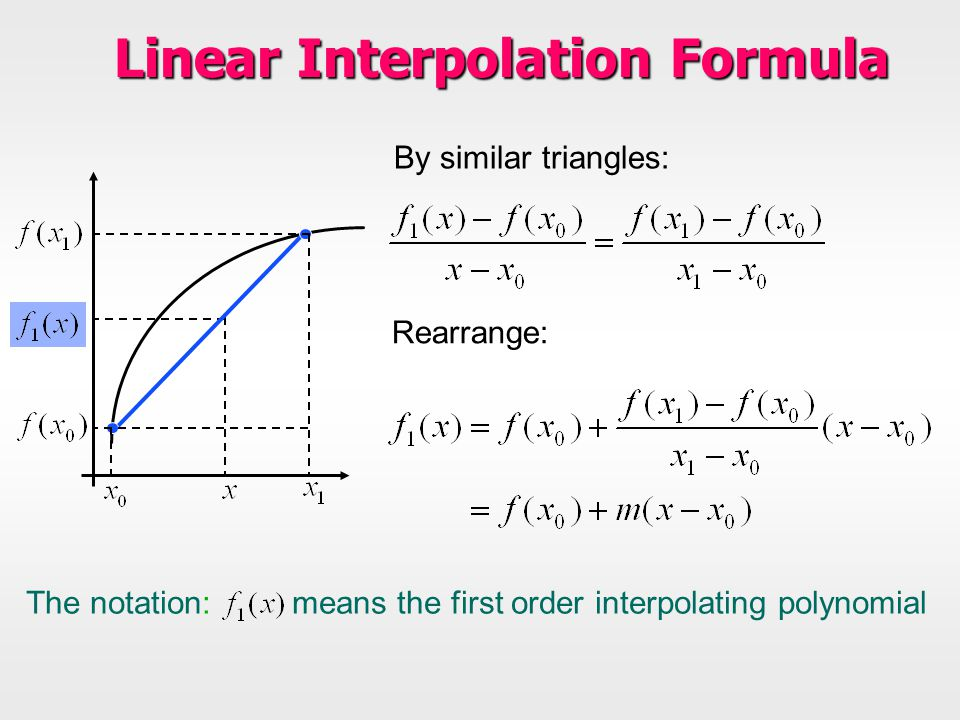 Linear Interpolation Formula By similar triangles: Rearrange: The notation: means the first order interpolating polynomial