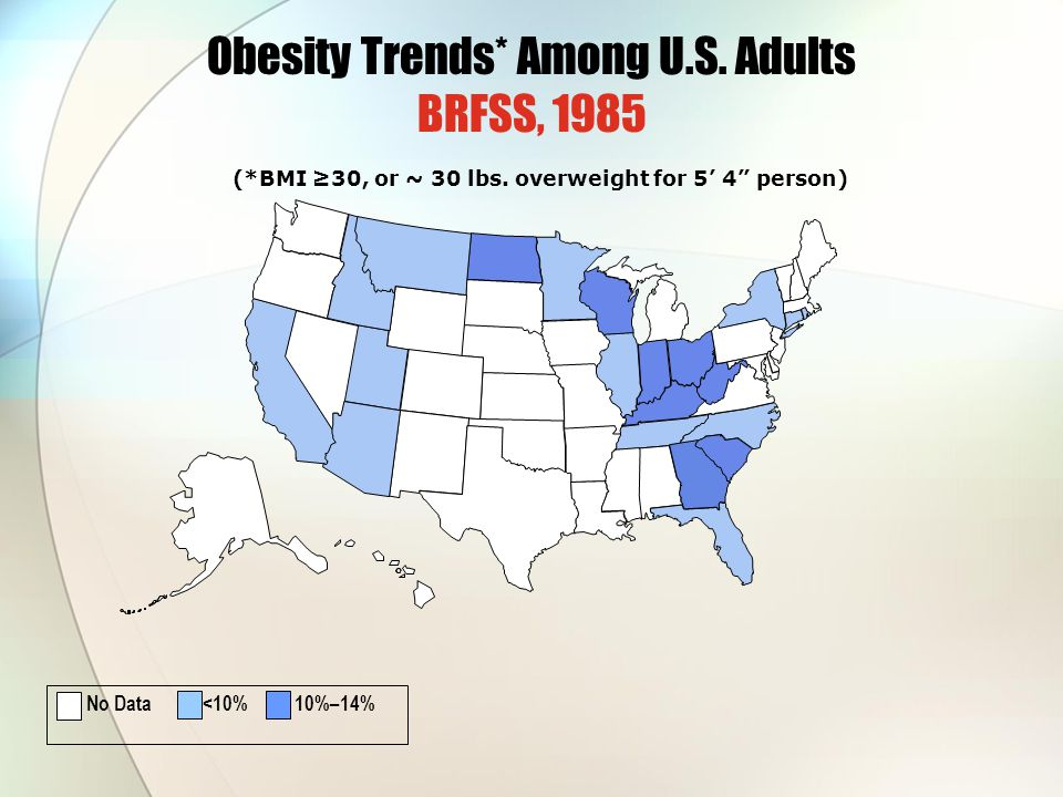 Obesity Trends* Among U.S. Adults BRFSS, 1985 (*BMI ≥30, or ~ 30 lbs.