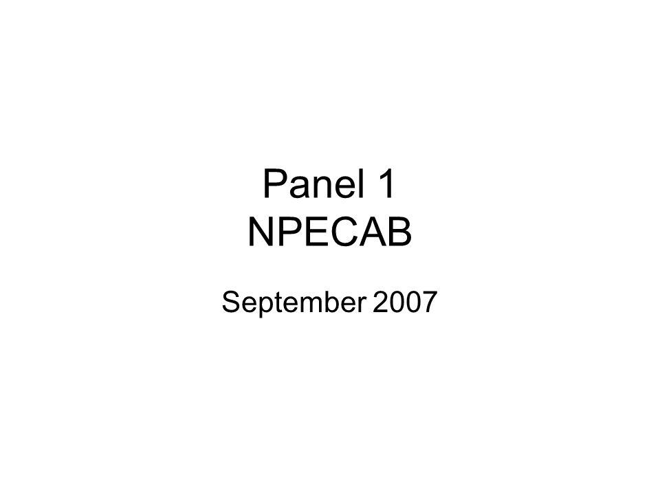 Panel 1 NPECAB September 2007