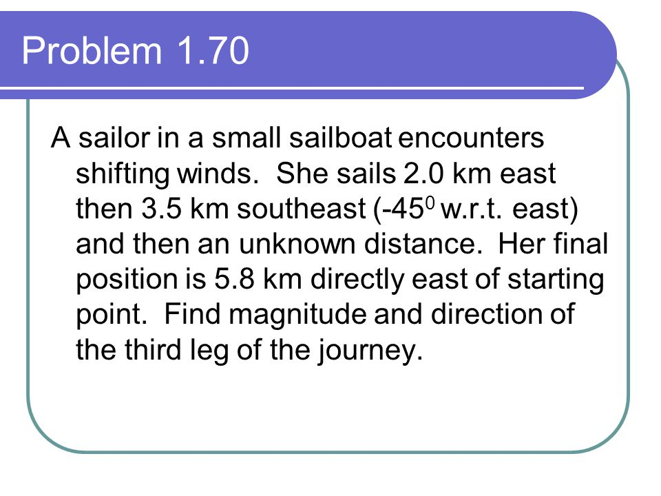 Problem 1.70 A sailor in a small sailboat encounters shifting winds. She sails 2.0 km east then 3.5 km southeast (-45 0 w.r.t. east) and then an unkno