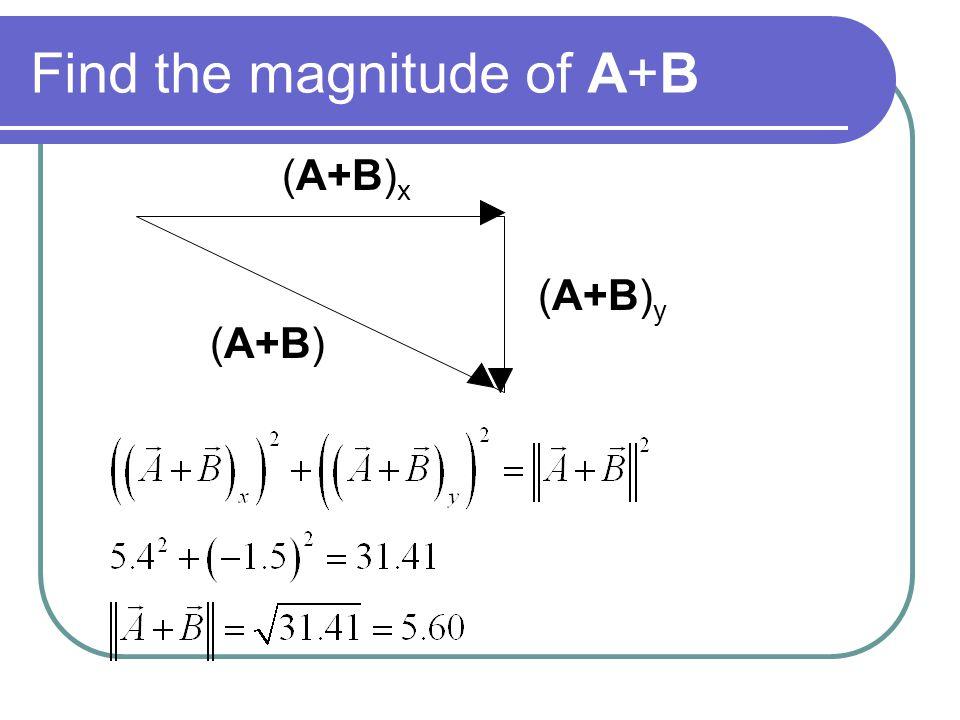 Find the magnitude of A+B (A+B) y (A+B) x (A+B)