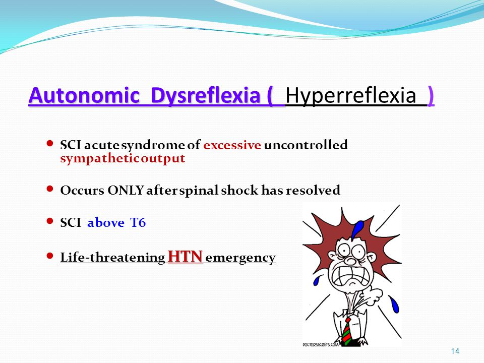 Autonomic Dysreflexia ( Autonomic Dysreflexia ( Hyperreflexia ) SCI acute syndrome of excessive uncontrolled sympathetic output Occurs ONLY after spin