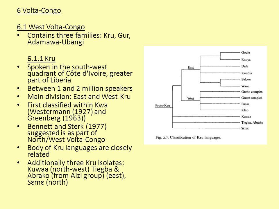 6 Volta-Congo 6.1 West Volta-Congo Contains three families: Kru, Gur, Adamawa-Ubangi 6.1.1 Kru Spoken in the south-west quadrant of Côte d'Ivoire, gre