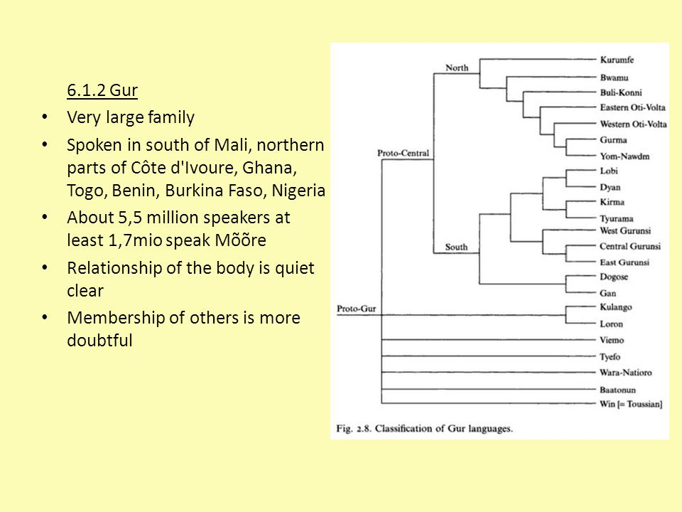 6.1.2 Gur Very large family Spoken in south of Mali, northern parts of Côte d'Ivoure, Ghana, Togo, Benin, Burkina Faso, Nigeria About 5,5 million spea