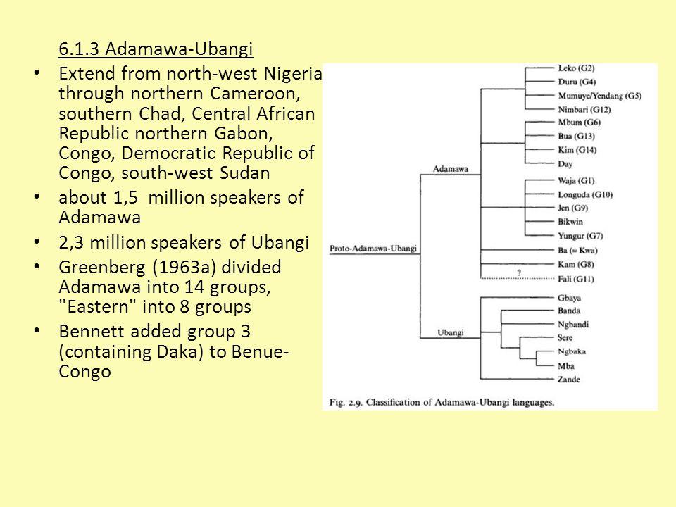6.1.3 Adamawa-Ubangi Extend from north-west Nigeria through northern Cameroon, southern Chad, Central African Republic northern Gabon, Congo, Democrat