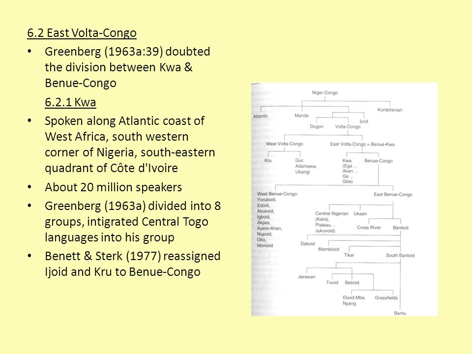 6.2 East Volta-Congo Greenberg (1963a:39) doubted the division between Kwa & Benue-Congo 6.2.1 Kwa Spoken along Atlantic coast of West Africa, south w