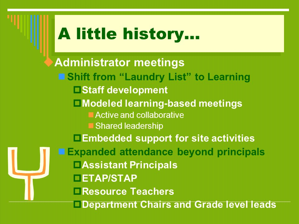 "A little history…  Administrator meetings Shift from ""Laundry List"" to Learning  Staff development  Modeled learning-based meetings Active and coll"