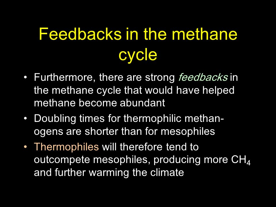 Feedbacks in the methane cycle Furthermore, there are strong feedbacks in the methane cycle that would have helped methane become abundant Doubling ti