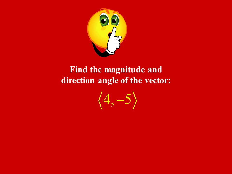 Find the magnitude and direction angle of the vector: