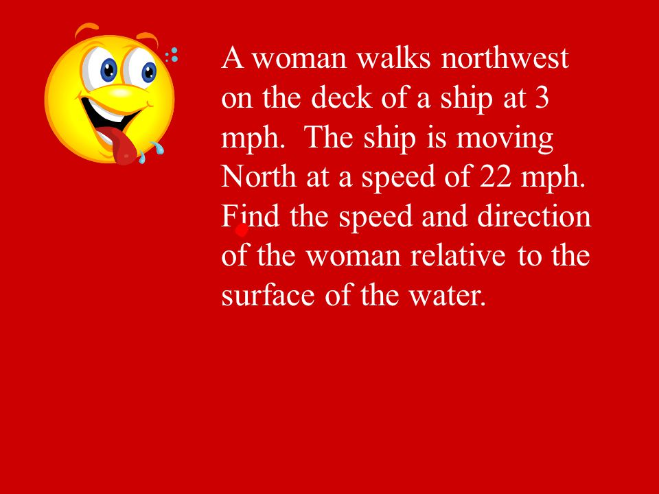 A woman walks northwest on the deck of a ship at 3 mph. The ship is moving North at a speed of 22 mph. Find the speed and direction of the woman relat