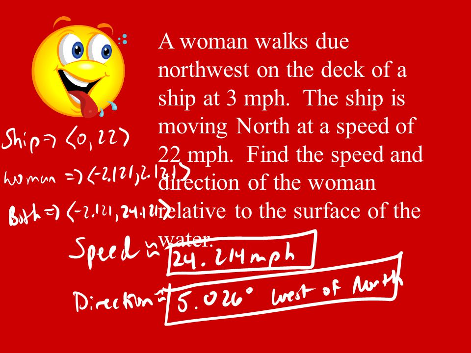 A woman walks due northwest on the deck of a ship at 3 mph. The ship is moving North at a speed of 22 mph. Find the speed and direction of the woman r