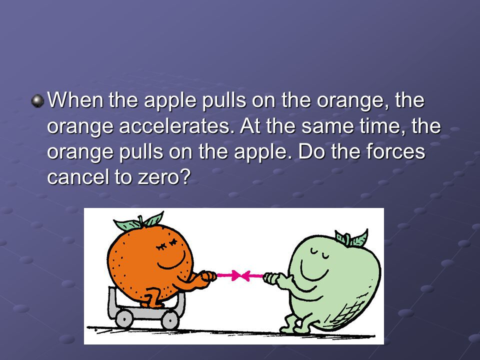 When the apple pulls on the orange, the orange accelerates.
