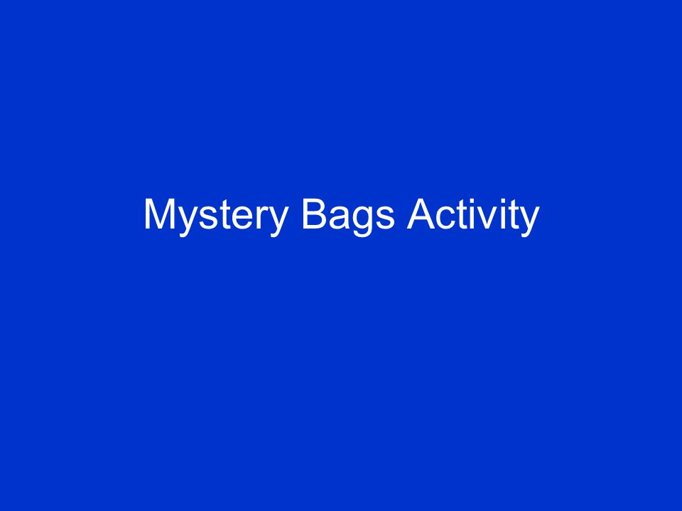 Mystery Bags Activity