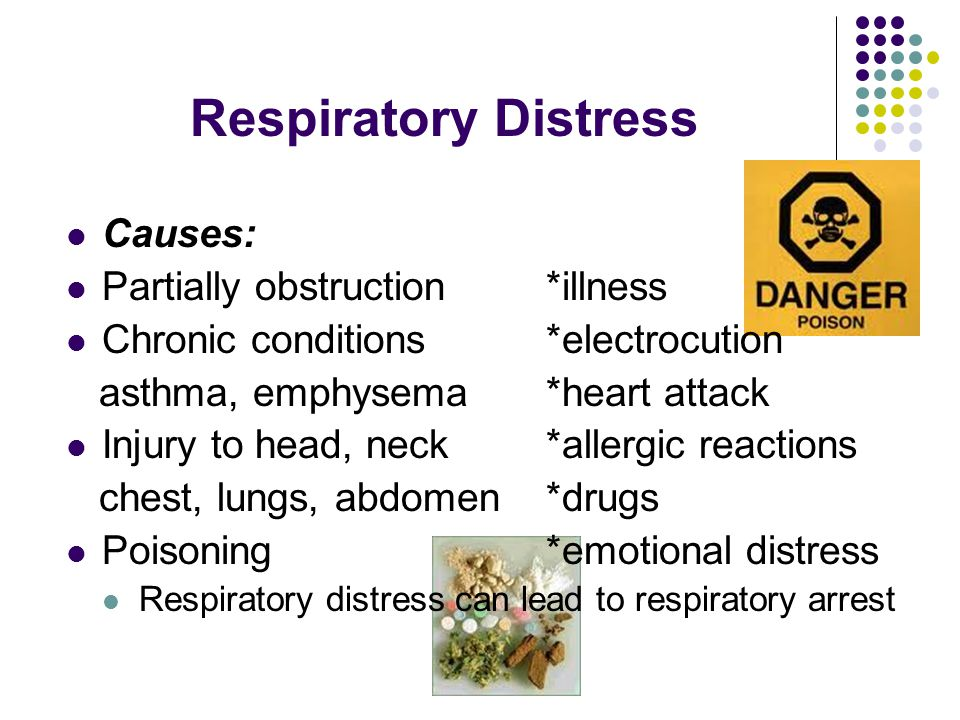 Signals of Respiratory Distress Trouble breathing- gasping, slow or rapid, usual noises as wheezing, gurgling Skin unusually cool or moist Flushed, pale, ashen, or bluish skin Shortness of breath Dizzy or light headed Pain in chest or tingling in hands, feet or lips Feels apprehensive or fearful