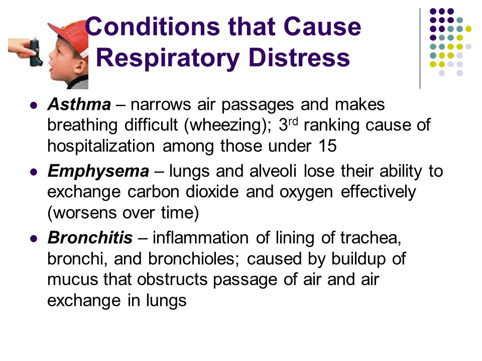 Conditions that Cause Respiratory Distress Anaphylactic Shock – severe allergic reaction; air passages may swell and restrict person's breathing; caused by insect stings, food, other allergens or certain medications; signals- rash, tightness in chest and throat, swelling of face, neck, tongue Hyperventilation- breathing is faster than normal; rapid breathing can upset body's balance of oxygen and carbon dioxide