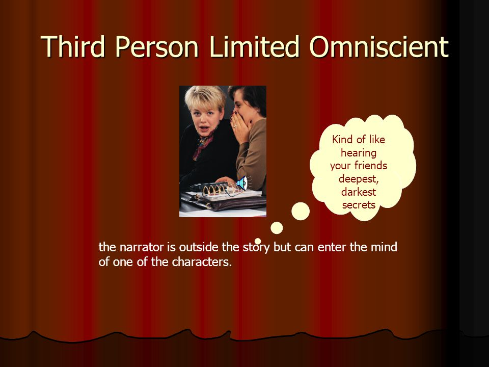 Third Person Objective the narrator relates the facts without recording thoughts and feeling of characters.