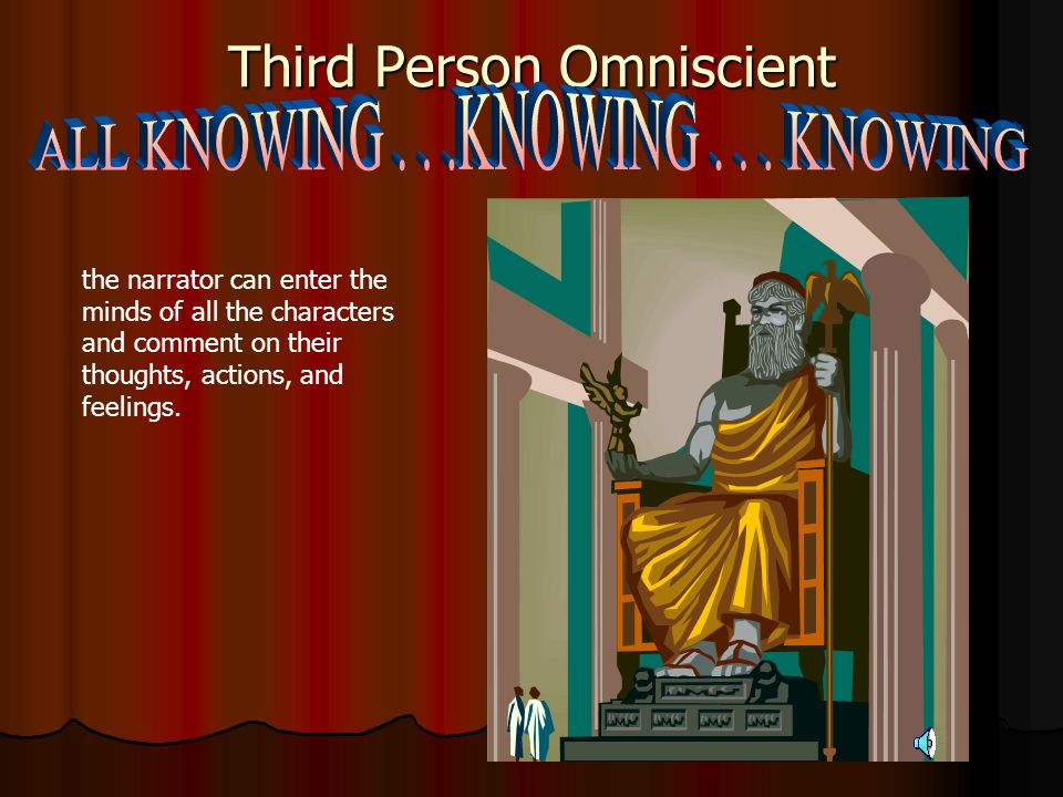 Third Person Limited Omniscient the narrator is outside the story but can enter the mind of one of the characters.