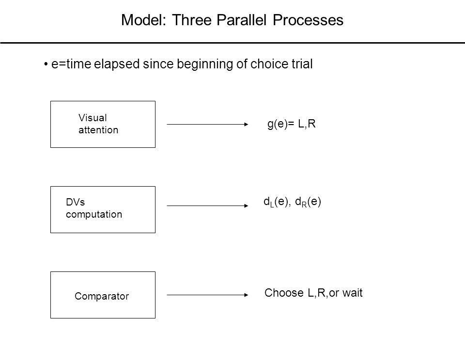 Model: Three Parallel Processes Visual attention DVs computation Comparator g(e)= L,R e=time elapsed since beginning of choice trial d L (e), d R (e) Choose L,R,or wait