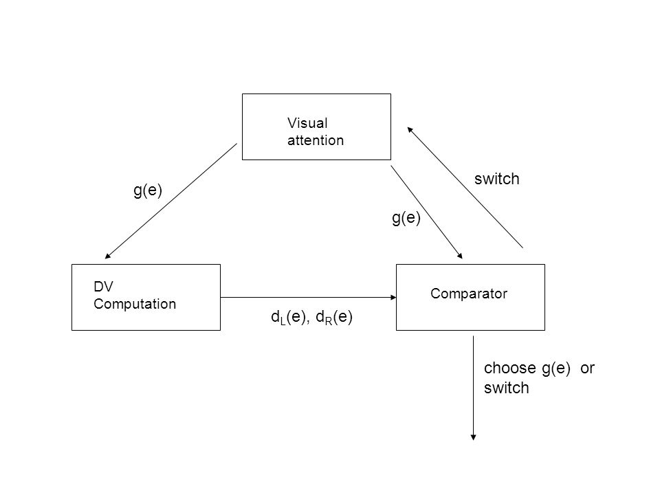 Visual attention DV Computation Comparator g(e) d L (e), d R (e) choose g(e) or switch