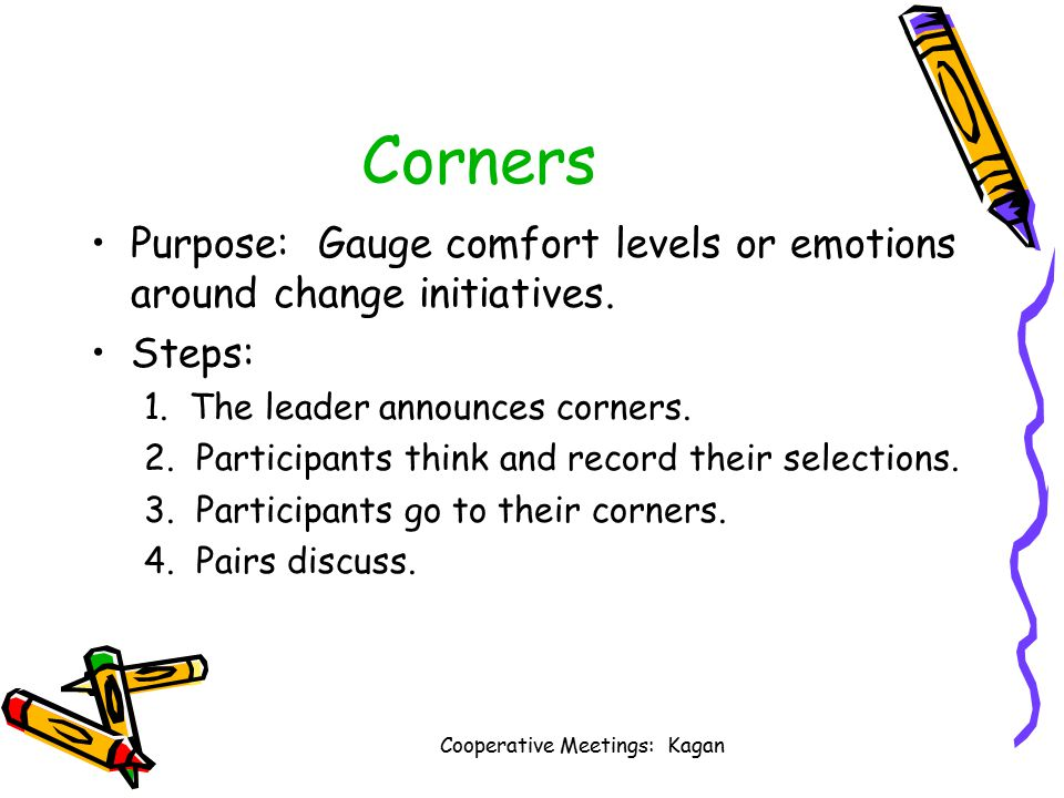 Cooperative Meetings: Kagan Corners Purpose: Gauge comfort levels or emotions around change initiatives.