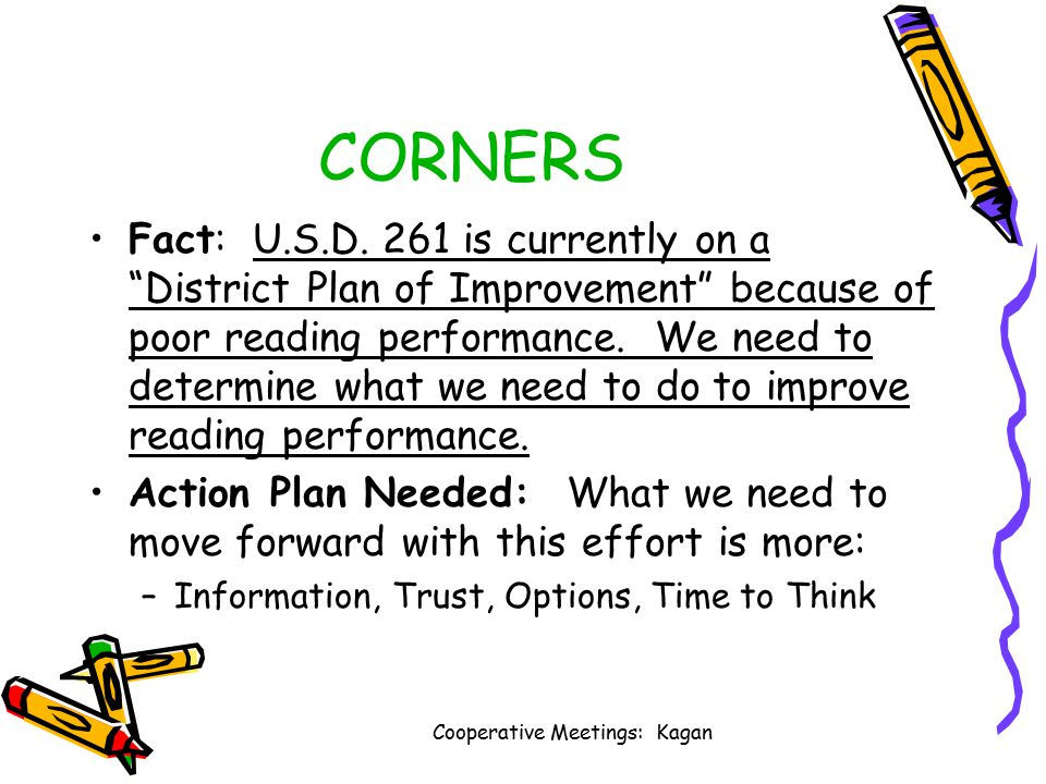 Cooperative Meetings: Kagan 4 Corners: Information Trust Options Time to Think