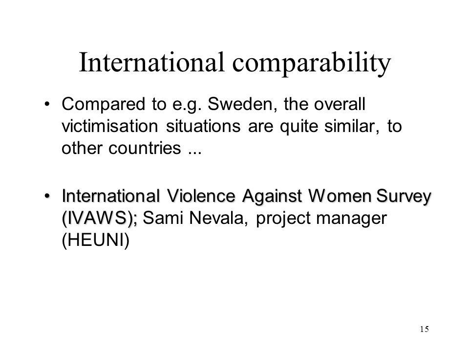 15 International comparability Compared to e.g.