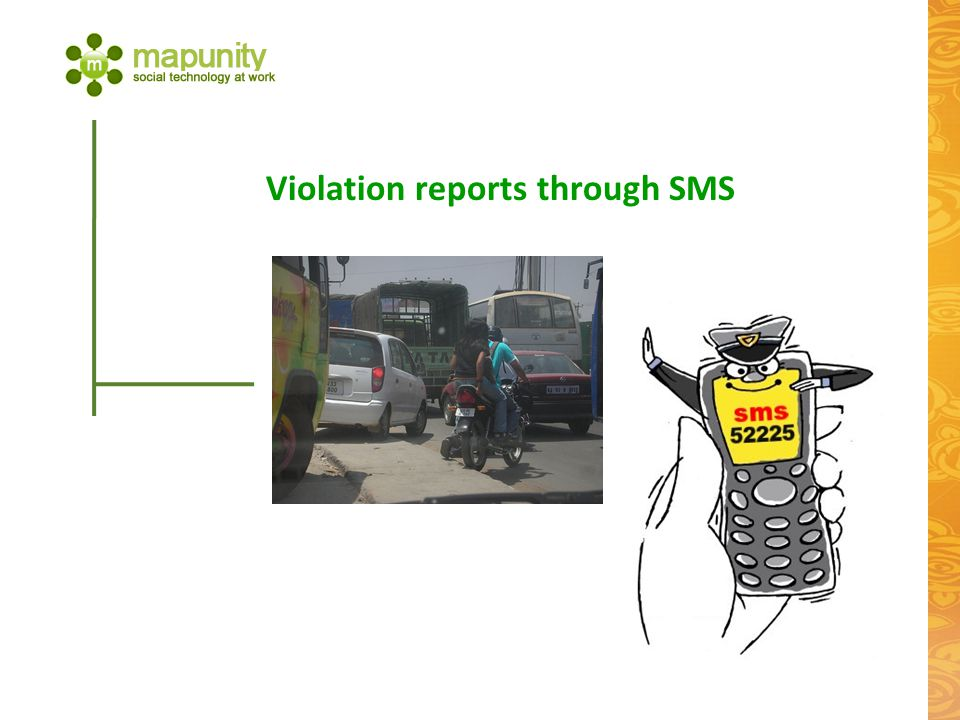 Violation reports through SMS