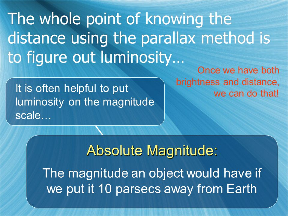 The whole point of knowing the distance using the parallax method is to figure out luminosity… It is often helpful to put luminosity on the magnitude scale… Absolute Magnitude: The magnitude an object would have if we put it 10 parsecs away from Earth Once we have both brightness and distance, we can do that!