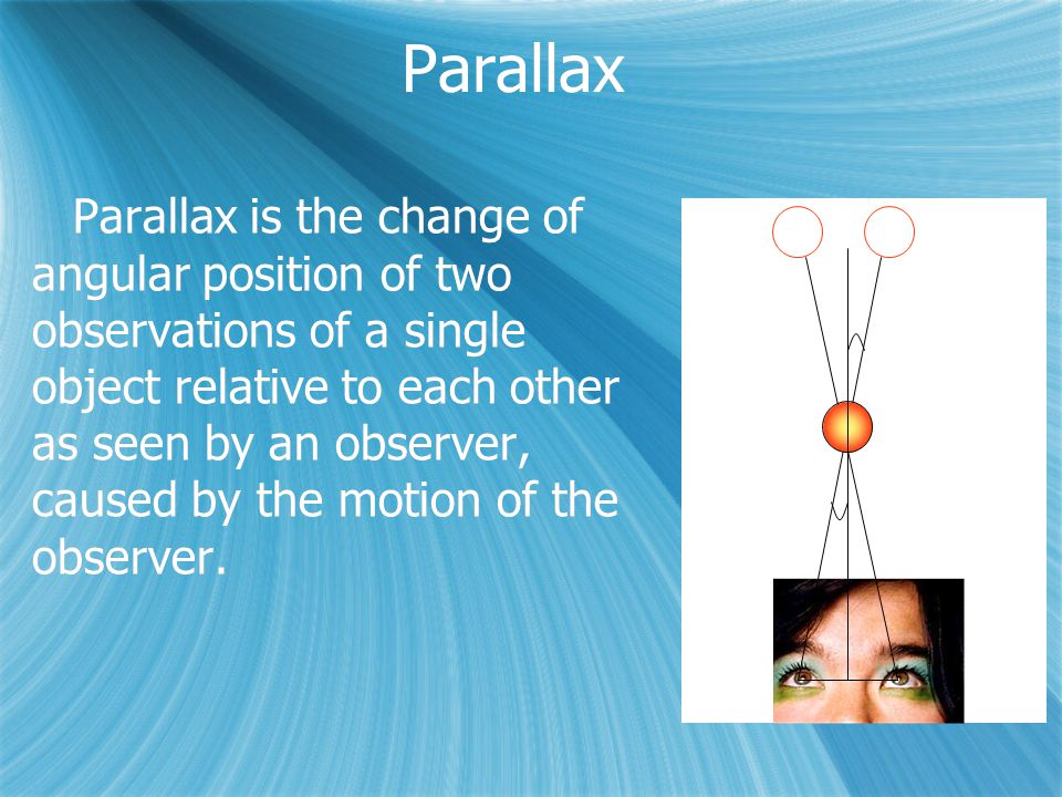Parallax is the change of angular position of two observations of a single object relative to each other as seen by an observer, caused by the motion of the observer.