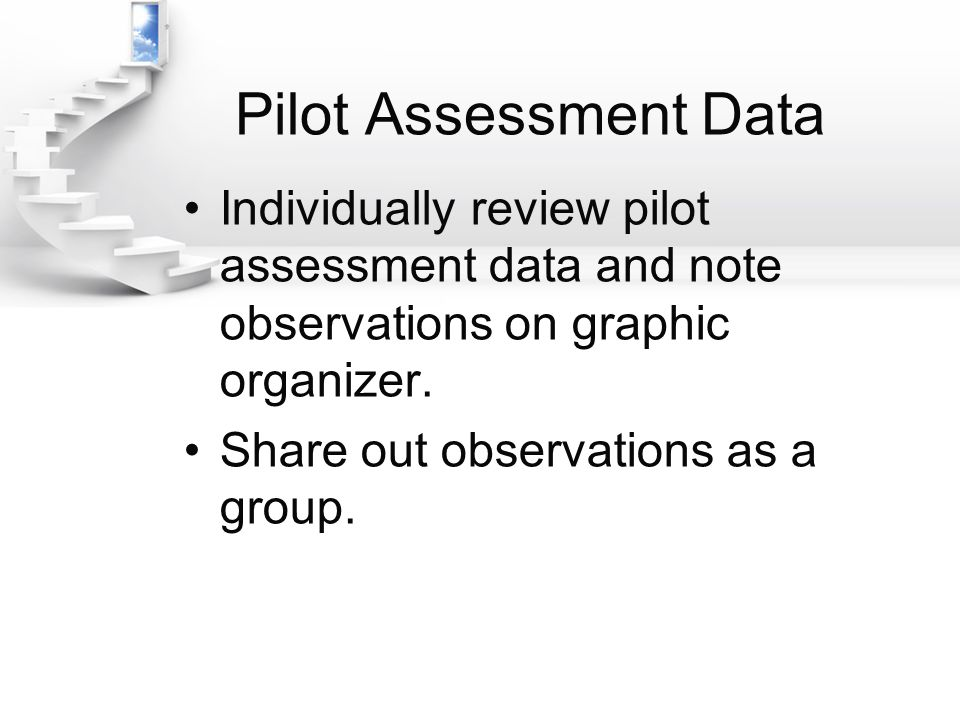 Pilot Assessment Data Individually review pilot assessment data and note observations on graphic organizer.