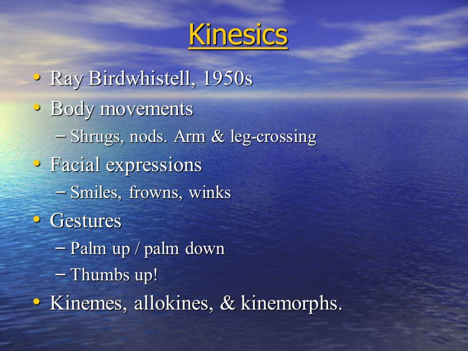 Kinesics Ray Birdwhistell, 1950s Ray Birdwhistell, 1950s Body movements Body movements – Shrugs, nods.