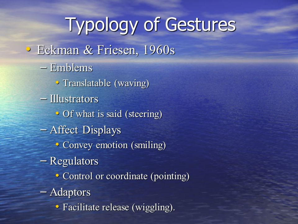 Typology of Gestures Eckman & Friesen, 1960s Eckman & Friesen, 1960s – Emblems Translatable (waving) Translatable (waving) – Illustrators Of what is said (steering) Of what is said (steering) – Affect Displays Convey emotion (smiling) Convey emotion (smiling) – Regulators Control or coordinate (pointing) Control or coordinate (pointing) – Adaptors Facilitate release (wiggling).