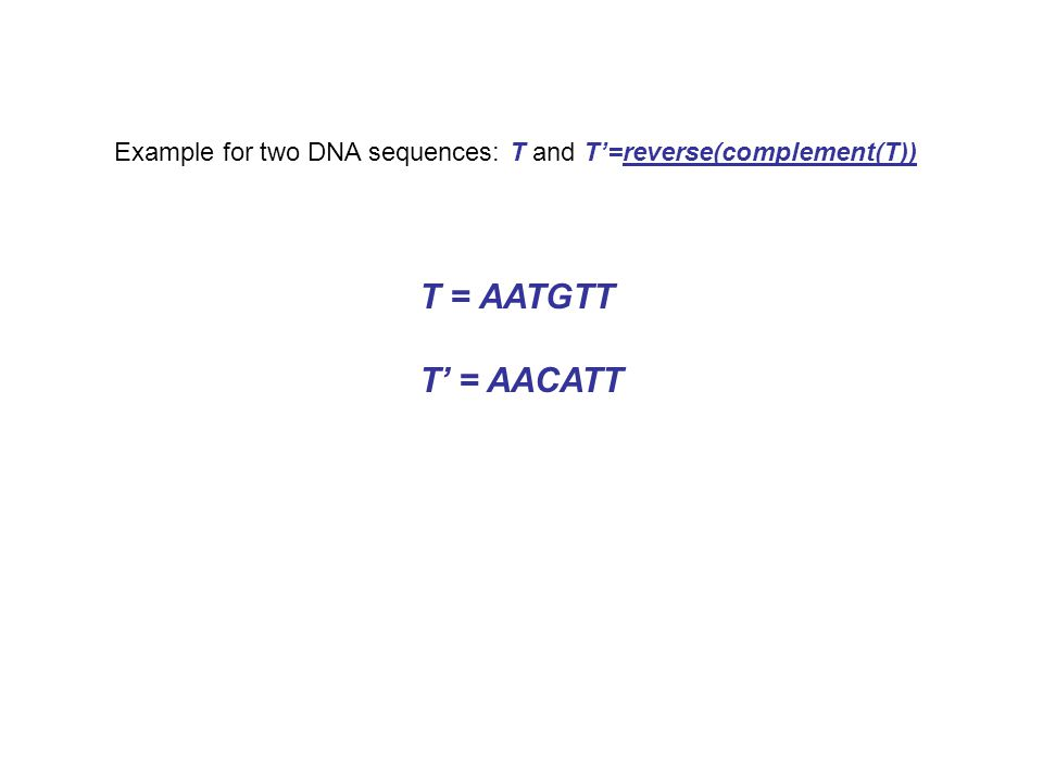 Example for two DNA sequences: T and T'=reverse(complement(T)) T = AATGTT T' = AACATT