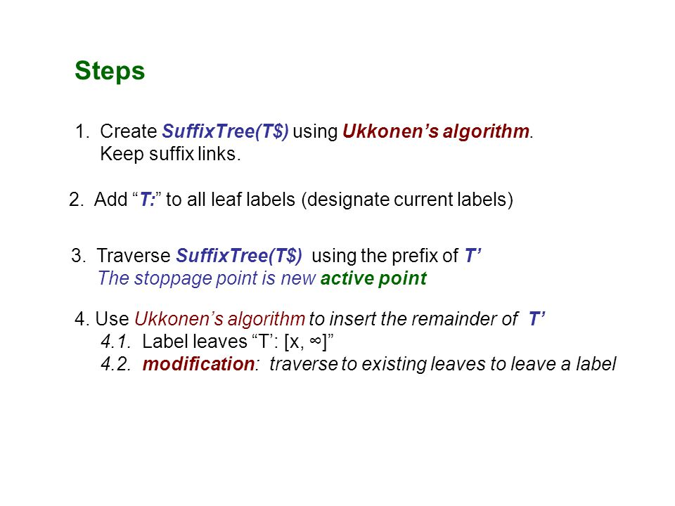 Steps 1.Create SuffixTree(T$) using Ukkonen's algorithm.