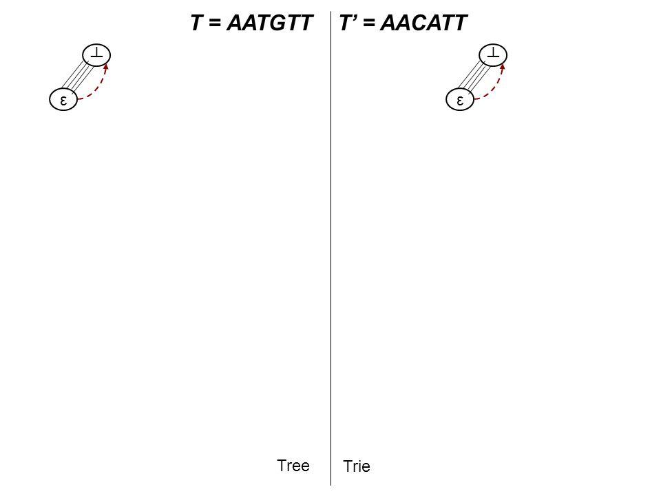 T A T = AATGTT$T' = AACATT Tree Trie A AA AAT AATG AATGT AATGTT ε ┴ ε ┴ Step 2: Traverse the prefix of T' Step 3: Start inserting the rest of T' T AT ATG TG G ATGT TGT GT ATGTT TGTT GTT TT - active point T:2,∞ A T:3,∞ T:4,∞ T G T:6,∞ T G T:7,∞ $ $ AAC AC C T':3,∞ C T C C AACA ACA CA - end point AACAT ACAT CAT ATT G T':6,∞ T